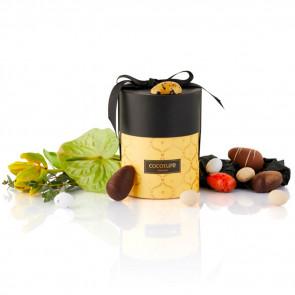 200g mix af fyldte chokoladeæg, dragéæg og ass. marcipanæg i gul Cococure Palæ gift selection