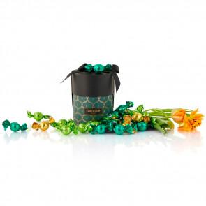 480g mix af grøn, lysegrøn og solgul Cocoture chokoladekugler i grøn Cocoture Palæ gift selection
