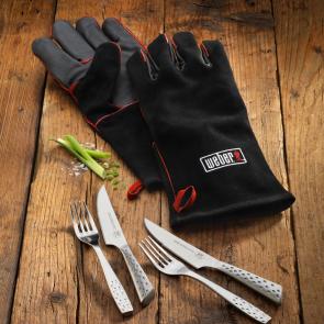 Weber - Elegant steaksæt til 2 personer og læder grillhandsker