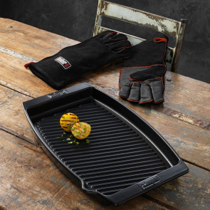 Weber - Weber stegefad med læder grillhandsker